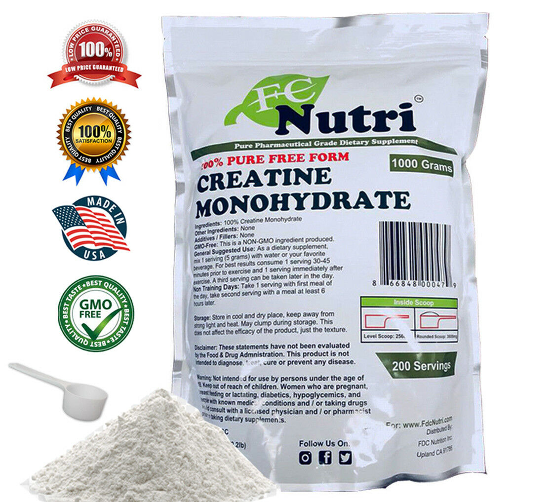 Creatine Monohydrate 100% Pure Powder 1000g (2.2 lb) Micronized