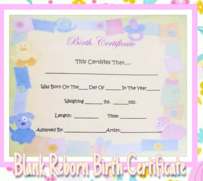 Reborn Baby Birth Certificate!