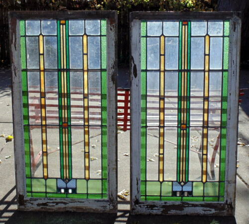 "Pair of Antique Chicago Leaded Stained Glass Windows Large Size 45"" by 22 1/2"""