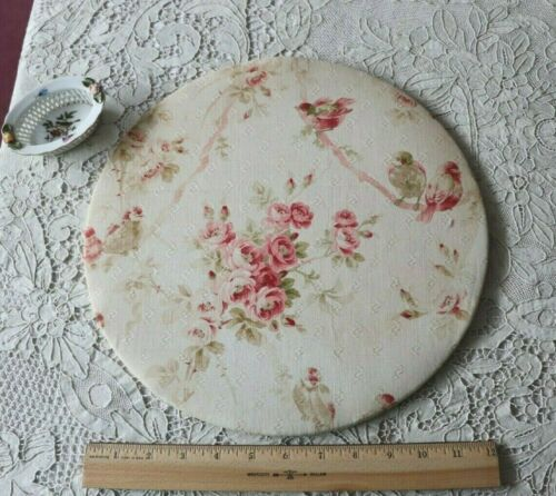 "Lovely Antique Pink Roses, Bows & Ribbons Cotton Covered 13"" Linen Press c1910"