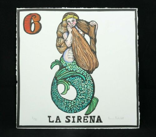 La Sirena/Mermaid Lithograph Mexico Fine Art Award Winner F. Robles Sign Loteria