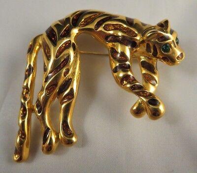 Emerald Green Rhinestone Eyed Big Cat Brooch Pin Gold Tone Brown Enamel Leopard?