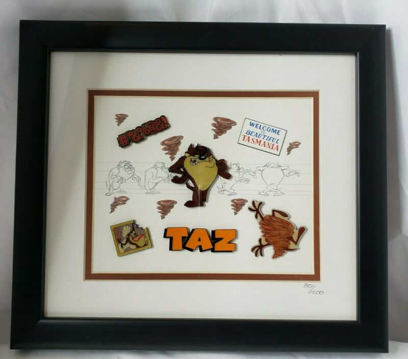 Rare Warner Bros Looney Tunes Tasmanian Devil Taz Lithograph and Lin Set w/ COA