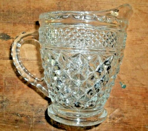 Vintage Anchor Hocking Glass Wexford Creamer Diamond Pattern - NEW FREE SHIPPING
