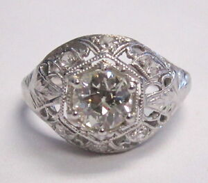ART DECO SOLITAIRE PLATINUM DIAMOND RING NOUVEAU SETTING
