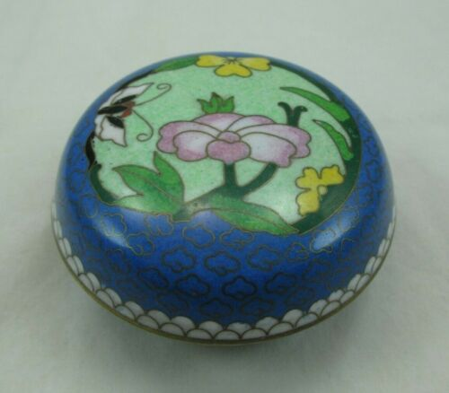 """Vintage Chinese Cloisonne Trinket Box Container Tianjin China Floral 3"""" 021E"""