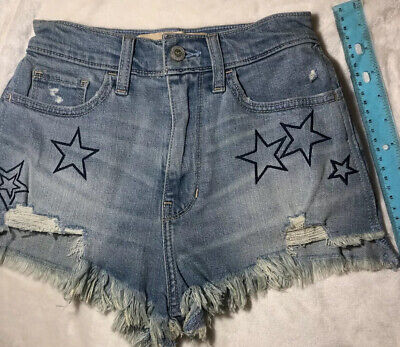 Hollister Womens Denim Cut Off Jean Short ~ with Embroidered Stars ~ Size 00