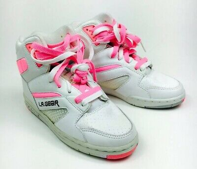 Vintage 80s 90s LA Gear Sneakers High Top Pink White Shoes Deadstock Size 6