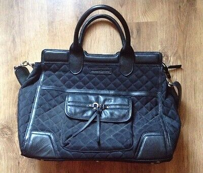 Bramble & Brown -Black Quilted Executive Bag - Cross body Strap