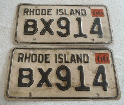 1966 Rhode Island License plate pair BX 914