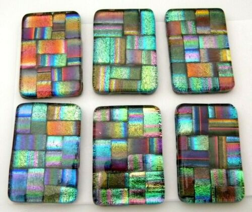 Lot of 6 pcs RECTANGLE DICHROIC FUSED GLASS pendant (A5) CABOCHON HAND MADE