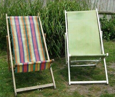 Vintage Wooden Deck Chairs x 2 1950s/60s - Retro Beach Camper Surf Chic