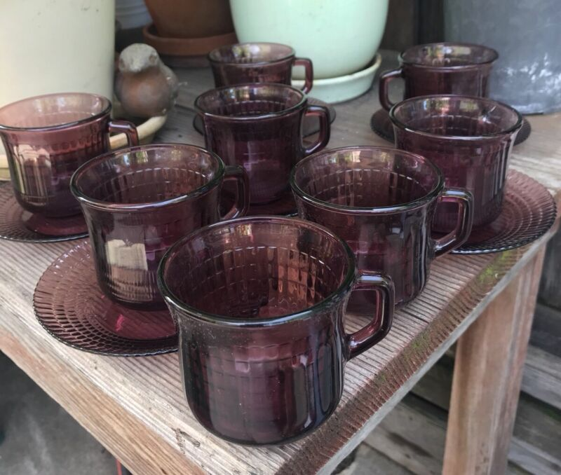 Vintage Amethyst Glass 8 Cups & 6 Saucers Mexico