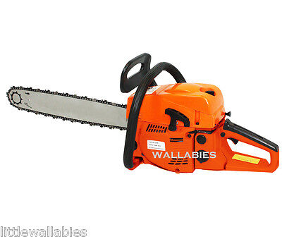 52CC GASOLINE CHAINSAW CUTTING WOOD 2 STROKE GAS CHAIN SAW ALUMINUM CRANKCASE on Rummage