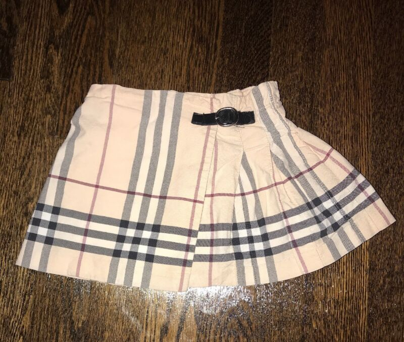 Authentic Burberry Light Pink Plaid Ruffle Skirt Size 12 Months Cotton With Belt