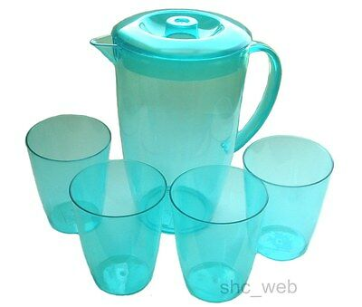 Plastic Water Jug Set with 4 Tumblers TURQUOISE (Summer/Party/Picnic Glasses)