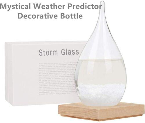 Storm Glass Weather Predictor Creative Forecaster Bottles Barometer Wood Crafts