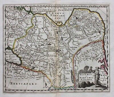 Orig. antique map CHINA, TIBET 'SCYTHIA ET TARTARIA ASIATICA' P. Cluver, c.1697