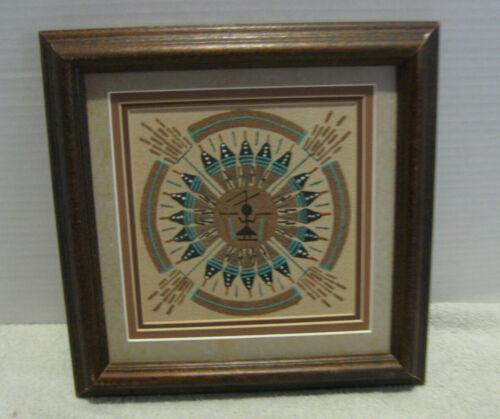 Vintage Navajo Sand Painting Art Framed