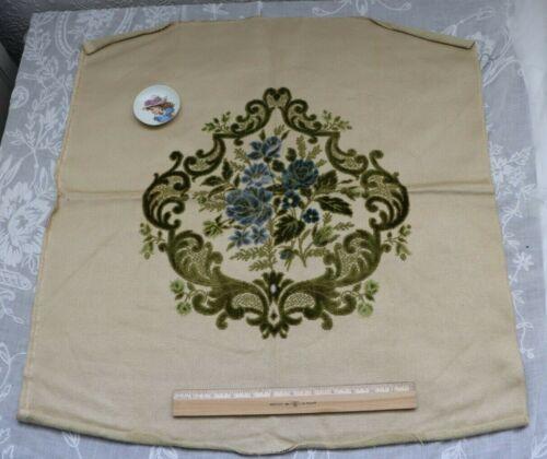 "French Vintage Cotton Cut Velvet Blue Roses Center Pillow Fabric c1940~27""X25"""