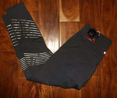 NWT Womens Z by Zobha High Waist Carbon Gray Stripe Shine Leggings Pants Size XL