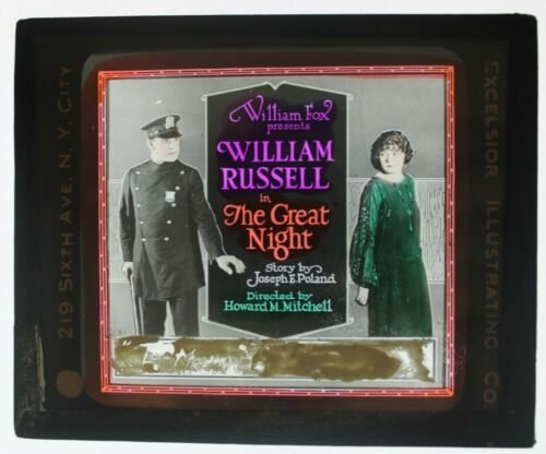 The Great Night 1922 glass slide - William Russell - free shipping