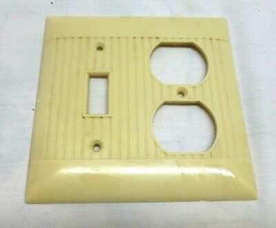 NOS SIERRA RIBBED BROWN PLASTIC BAKELITE DOUBLE SMALL OUTLET COVER PLATE