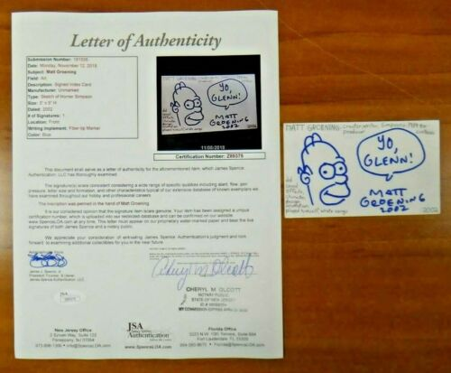 Matt Groening Signed 3x5 Art Sketch Homer Simpson Index Card w/ Full JSA Letter