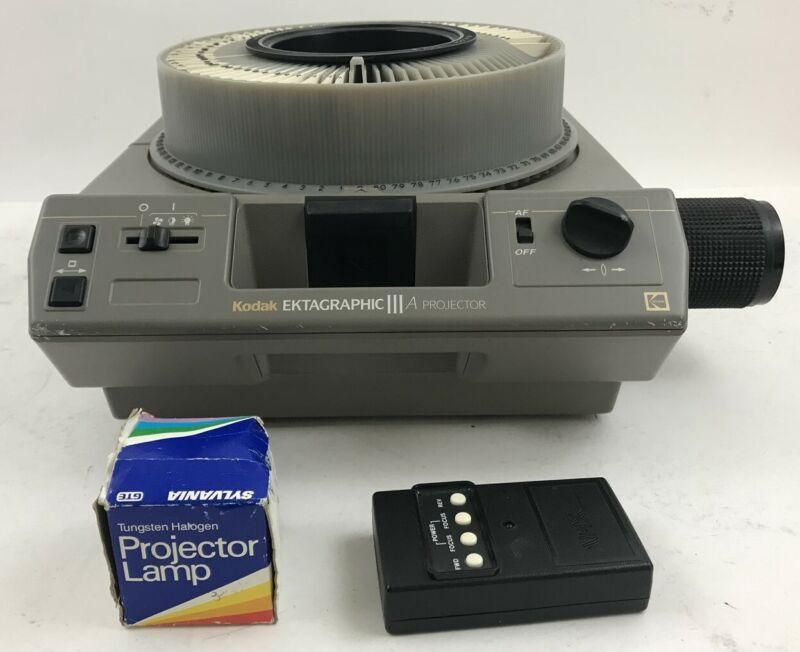 KODAK Ektagraphic III Slide Projector Remote, Zoom Lens, Extra Bulb