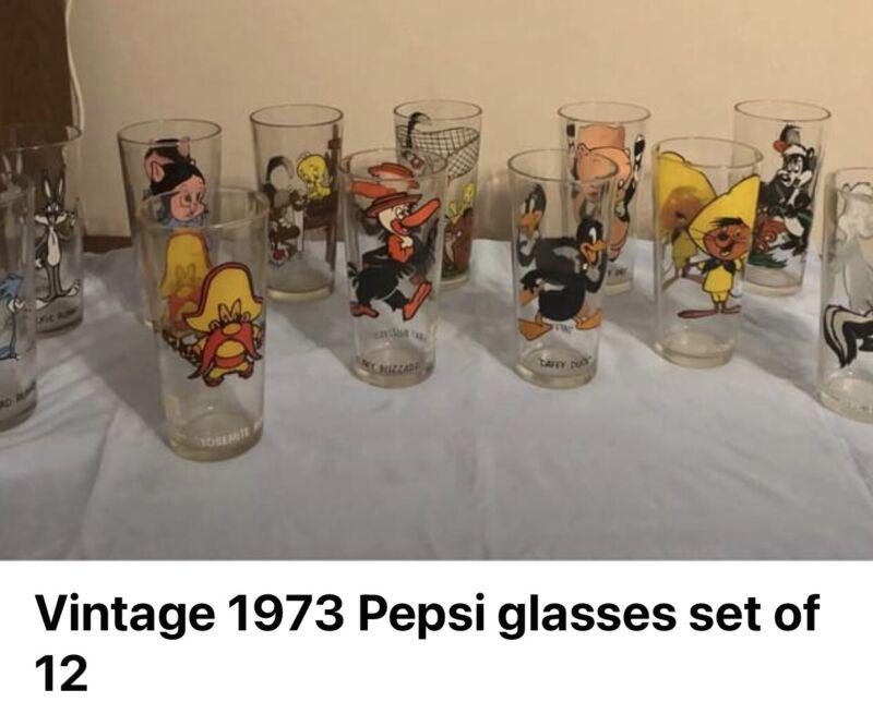 VINTAGE LOONEY TUNES 1973 GLASSES LOT OF 12 PEPSI COLLECTOR SERIES WARNER BROS