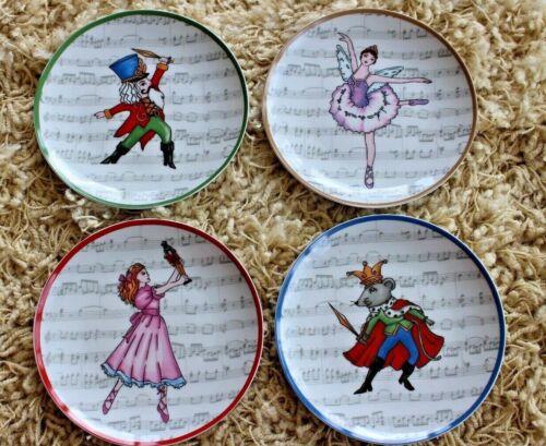 "AVON Nutcracker 7"" Porcelain Appetizer Plates ~ Set of 4 Clara, King, Fairy, Nut"
