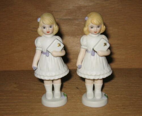 Lot of 2 Enesco 1991 Growing Up Girls Holding Bible Confirmation Figurines