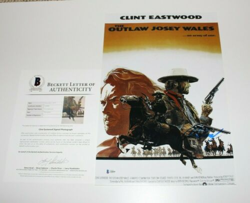 CLINT EASTWOOD SIGNED 'THE OUTLAW JOSEY WALES' 12x18 MOVIE POSTER BECKETT COA