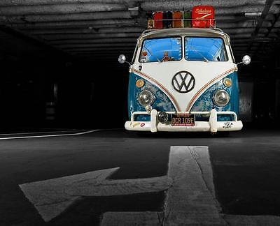 Blue VW Camper Van Stretched Canvas Wall Art Poster Print Surfing campervan ()