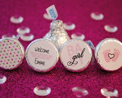 108 Baby Girl Personalized Name Hershey Kiss Labels Stickers Favors Baby Shower