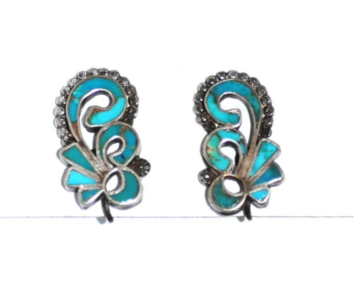 Superb Vtg 50s ZUNI INLAY & APPLIED DECORATION Earrings Silver Channel Turquoise