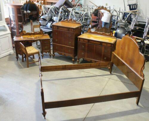 Antique Art Deco Jacobean Revival Full Bedroom Set - 5 pieces - Walnut