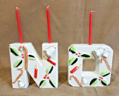 """Vtg Christmas Candle Holders Letters """"N"""" """"O"""" 1950s With Bell Holly Candle Candy"""