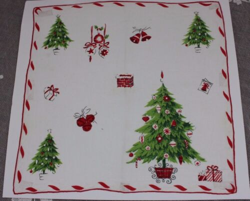 "Vintage Cotton Christmas Holiday Trees & Presents Handkerchief c1940-50~14""Sq"