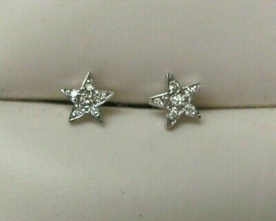 0.25 Carat Brilliant Round 14k White Gold Over Pave Diamond Star Stud Earrings  ()