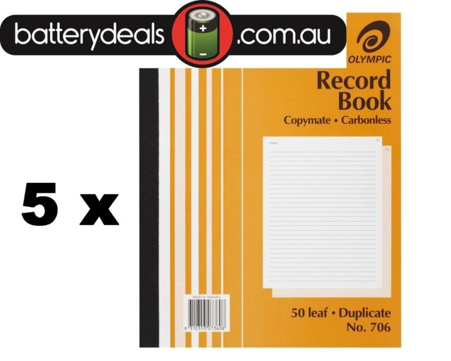 5 Olympic Record Book No706 200 x 250mm Duplicate Carbonless 50 Leaf #706 No.706
