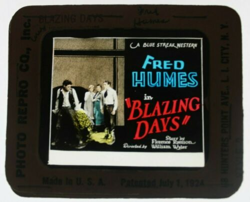 Blazing Days 1927 glass slide - Fred Humes - free shipping