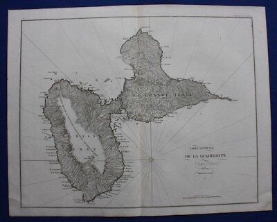 Original antique map, GUADELOUPE, Napoleonic Wars, Ambroise Tardieu, c.1820