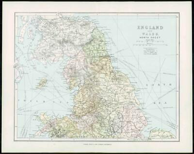 1903 Original Antique Colour Map - ENGLAND WALES North Sheet (8)