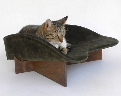 Retro modern pet bed cat dog boomerang forest olive green velvet birch walnut