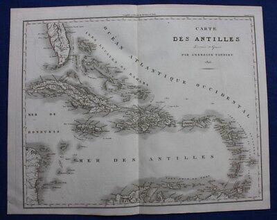 Original antique map, ANTILLES, CUBA, JAMAICA, BAHAMAS, FLORIDA, Tardieu, 1822