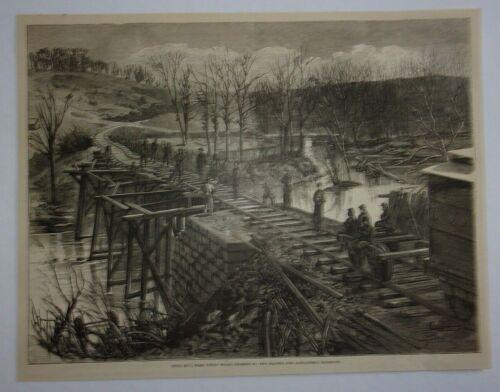 1866 Bull Run Union Mills Crossed by Orange and Alexandria Railroad Engraving