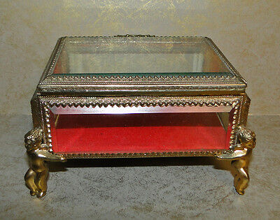 VINTAGE CHERUB JEWELRY CASKET TRINKET BOX GOLD FILIGREE BEVELED GLASS