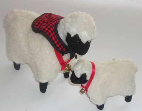 Ewe & Lamb Wool Black Faced Lamb/Sheep w/Red & Black Check Neck Cape and Bell