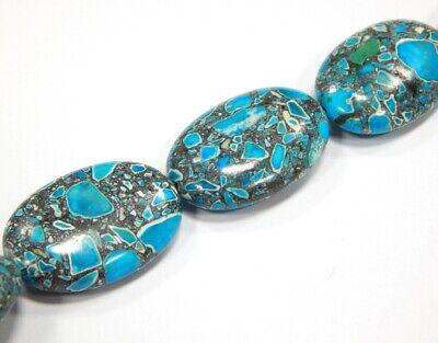 28mm Perle (Edelstein Türkis Mosaik Steine Perlen Oval  Blau 28mm Schmucksteine G159)